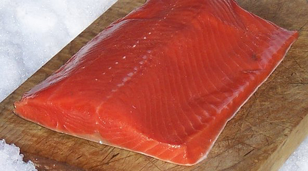 Silver Coho Salmon on Plank